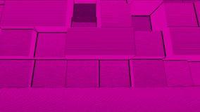Abstrakcjonistycznego sześcianu tła Przypadkowy ruch, Loopable animacja Różowi sześciany royalty ilustracja