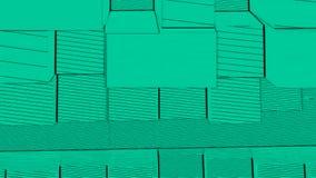 Abstrakcjonistycznego sześcianu tła Przypadkowy ruch, Loopable animacja Zieleni sześciany royalty ilustracja