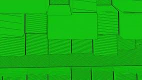 Abstrakcjonistycznego sześcianu tła Przypadkowy ruch, Loopable animacja Zieleni sześciany ilustracja wektor