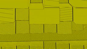 Abstrakcjonistycznego sześcianu tła Przypadkowy ruch, Loopable animacja Żółci sześciany royalty ilustracja