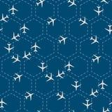 Abstrakcjonistycznego sześciokąta bezszwowy wzór z samolotami Fotografia Royalty Free