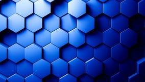 Abstrakcjonistycznego sześciokąta tła Przypadkowy ruch Błękitny kolor 4K royalty ilustracja