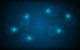 Abstrakcjonistycznego sześciokąta wzoru cząsteczkowego sci fi projekta techniki innowaci pojęcia naukowy tło obrazy stock
