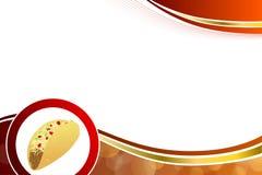 Abstrakcjonistycznego tła karmowego taco koloru żółtego fala ramy czerwona ilustracja Fotografia Stock