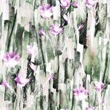 abstrakcjonistycznego t?a bezszwowa akwarela Abstrakcjonistycznego kwiatu makowa ro?lina ilustracji
