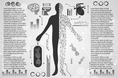 Abstrakcjonistycznego technologii nauki pojęcia ciała ludzkiego cyfrowi zdrowie ca obraz stock