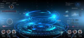 Abstrakcjonistycznego technologii ui pojęcia hud futurystyczny interfejs Fotografia Stock