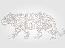 Abstrakcjonistycznego tygrysiego wizerunku ciemny kontur na białym tle Zdjęcia Stock