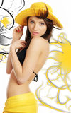 abstrakcjonistycznego tylnego bikini kapeluszowa seksowna zawijasa kobieta Zdjęcia Royalty Free