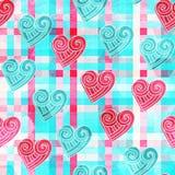 Abstrakcjonistycznego valentine bezszwowy wzór z grunge skutkiem Zdjęcie Stock