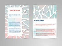Abstrakcjonistycznego wielobok broszurki ulotki projekta wektorowy szablon w A4 rozmiarze z 3D papieru grafika royalty ilustracja