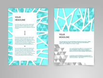 Abstrakcjonistycznego wielobok broszurki ulotki projekta wektorowy szablon w A4 rozmiarze z 3D papieru grafika ilustracja wektor