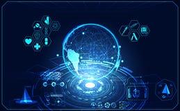 Abstrakcjonistycznego zdrowia medycznego światowego ui hud interfejsu futurystyczny hologr obrazy stock