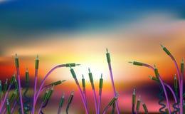 Abstrakcjonistycznego zmierzchu ładny defocused tło z światłami i obrazkiem mała ilość trawiastych audio prymek, dźwigarka EPS10  ilustracji