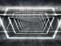 Abstrakcjonistycznego zmroku betonu surrealistyczny tunelowy wewnętrzny tło Obrazy Stock