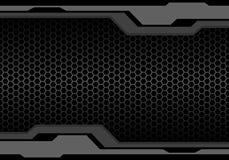 Abstrakcjonistycznego zmroku brzmienia popielaty wielobok futurystyczny na kruszcowego sześciokąt siatki projekta technologii tła ilustracja wektor
