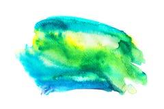 Abstrakcjonistycznej akwareli błękitna i zielona plama Obraz Royalty Free