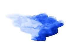 Abstrakcjonistycznej akwareli błękitna plama Zdjęcia Royalty Free