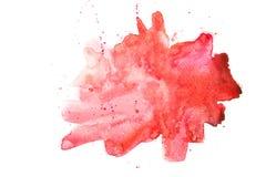 Abstrakcjonistycznej akwareli czerwona plama Zdjęcie Stock