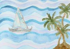 Abstrakcjonistycznej akwareli denny tło z drzewkami palmowymi Fotografia Stock