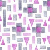 Abstrakcjonistycznej akwareli geometryczny bezszwowy wzór Trójboki z ornamentem, akwarelą i grunge teksturami aztec, _ royalty ilustracja
