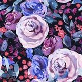 Abstrakcjonistycznej akwareli Kwiecisty Bezszwowy wzór, Fiołkowe akwareli róże, kwiaty, gałązki, liście, jagody, pączek ilustracji