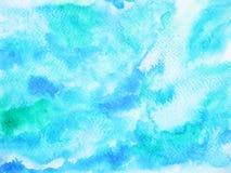 Abstrakcjonistycznej błękit fala oceanu denny tło, niebo akwareli obraz ilustracja wektor