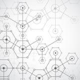 Abstrakcjonistycznej białej jaskrawej technologii heksagonalny tło Connectio royalty ilustracja