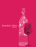 abstrakcjonistycznej butelki kwiecisty szklany wino Obrazy Royalty Free