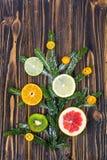 Abstrakcjonistycznej choinki karmowy tło z grapefruitowym, mandarynka, cytryna, wapno, kumquat Zdjęcie Stock