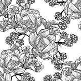 Abstrakcjonistycznej eleganci Bezszwowy wzór z kwiecistymi elementami ilustracja wektor