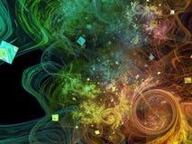 Abstrakcjonistycznej fractal pojęcia przyjęcia piękna splatter fantastycznej dekoraci tła piękna magia, energetyczny ruch royalty ilustracja