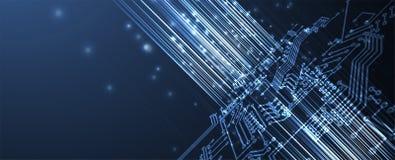 Abstrakcjonistycznej futurystycznej obwodu interneta technologii komputerowej deski biznesowy ciemny t?o ilustracja wektor