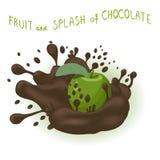 Abstrakcjonistycznej ikony ilustracyjny logo dla całego dojrzałego owoc zieleni jabłka Obraz Stock