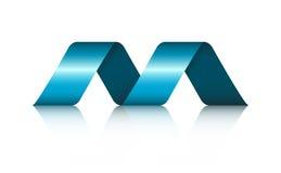 Abstrakcjonistycznej kształt spirali Tasiemkowy logo z odbiciem Zdjęcia Royalty Free