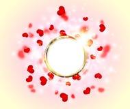 Abstrakcjonistycznej lśnienie łuny pierścionku ramy Złoty serce dla walentynka dnia ilustracja wektor