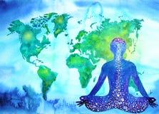Abstrakcjonistycznej ludzkiej meditator chakra wszechrzeczej władzy światowa mapa Zdjęcie Stock