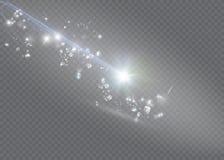 Abstrakcjonistycznej magii łuny gwiazdy lekki skutek z neonową plamą wyginającą się wykłada Iskrzasty pył gwiazdy ślad z bokeh Fotografia Royalty Free