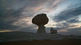 Abstrakcjonistycznej natury rockowe formacje aka rzeźbią kurczaka pod drzewem w biel pustyni, Sahara, Egipt Zdjęcia Royalty Free