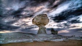 Abstrakcjonistycznej natury rockowe formacje aka rzeźbią kurczaka pod drzewem w biel pustyni, Sahara, Egipt Obraz Royalty Free