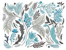 Abstrakcjonistycznej natury ustalona inkasowa ręka rysująca Etniczny ornament, kwiecisty druk, tekstylna tkanina, botaniczny elem ilustracji