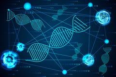 Abstrakcjonistycznej nauki pojęcia DNA połączenia cyfrowa technika cześć obrazy royalty free