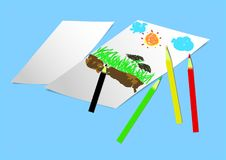 Abstrakcjonistycznej obraz sztuki pastelowy ilustracyjny tło Obraz Stock