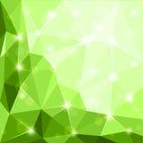 Abstrakcjonistycznej poligonalnej geometrycznej fasety błyszczący zielony tło Zdjęcie Stock