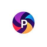 Abstrakcjonistycznej sfera okręgu znaka P listu loga ikony wektorowy projekt Zdjęcie Royalty Free