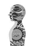 Abstrakcjonistycznej sztuki chakra reiki władzy dzień, noc, świat, wszechświat wśrodku twój umysłu, wektor royalty ilustracja