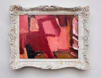 Abstrakcjonistycznej sztuki ekspresjonizmu kanwa w rocznika bielu antykwarskiej ramie Fotografia Royalty Free