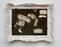 Abstrakcjonistycznej sztuki ekspresjonizmu kanwa w rocznika bielu antykwarskiej ramie Zdjęcia Royalty Free