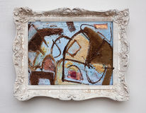Abstrakcjonistycznej sztuki ekspresjonizmu kanwa w rocznika bielu antykwarskiej ramie Obrazy Royalty Free