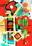 abstrakcjonistycznej sztuki kolażu koloru farba Zdjęcia Stock